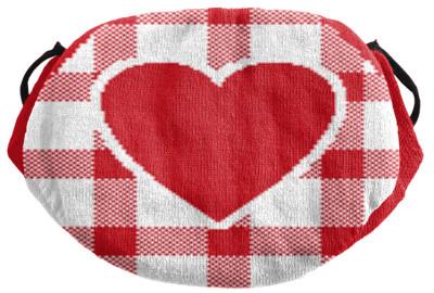 Strickmaske Herz rot weiss