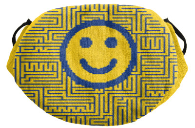 Gestrickte Mund-Nase-Bedeckung mit Clipart gelb blau